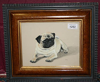 *Lew Helyes (b 1951) pastel portrait of a pug dog,