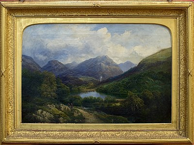 Frances Stoddart (fl. 1837 - 1840), oil on canvas - Head of the Glen Curran Argyllshire, signed, inscribed and dated 1864 verso, in original gilt frame, 50cm x 75cm