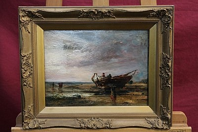 Henry Williams (fl. 1854 - 1877), oil on artists board - the beach at Egremont near Liverpool, signed, inscribed and dated 1863 verso, in gilt frame, 21cm x 29cm