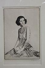 Howard Somerville (1873 - 1952), signed etching - portrait of a seated lady, Miss Norah Baring, dated 1932, in glazed frame, 34cm x 22cm