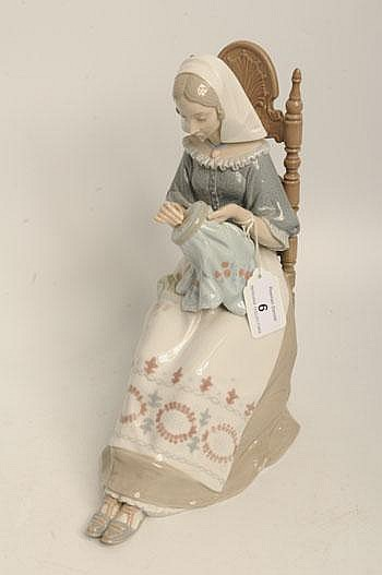 Lladro figure entitled Bordadora insular numbered