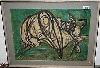 *Ru Van Rossem (1924- ) gouache study of a Bison