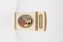 Fine Louis XV gold mounted ivory Carnet-de-Bal