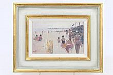 * Stephen Brown (b. 1947), oil on board - The Beach, Bournemouth, 1996, init