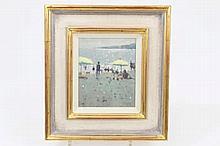 * Stephen Brown (b. 1947), oil on board - Beach Umbrellas, 1996, initialled,