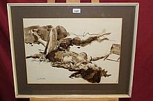 * Patrick Hamilton (b. 1923), ink and wash - reclining female nude, signed a