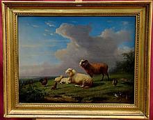 Franz Van Severdonck (1809 - 1889), oil on mahogany panel - sheep, poultry