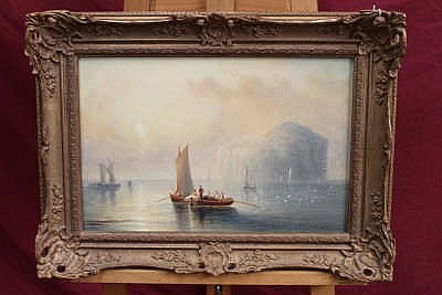 Captain J. W. Anderson, 19th century oil on board - The Bass Rock, Firth of