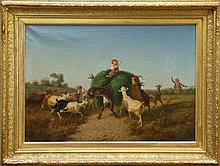 Jean Henri Marlet (1771 - 1847), oil on canvas - A kerfuffle with goats and