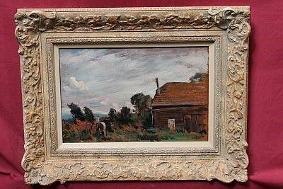 Benjamin Gibbon (b. 1914), oil on board - rural landscape, in painted frame