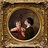 John Duvall (1816 - 1892), pair oils on canvas - children blowing bubbles and at their studies, one, John Duvall, £0