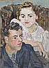 *Lucy Harwood (1893 - 1972), oil on canvas - Portrait of two figures, signed verso, unframed, 71cm x, Lucy Harwood, £0