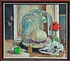 Henry Collins (1910 - 1994), oil on canvas - still life with a glass dome, ostrich egg and sheep sku, Henry (1910) Collins, £0