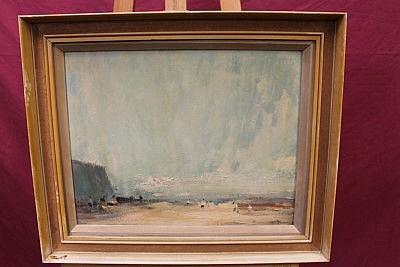 John Burman (b. 1936), oil on board - Evening Light, Felixstowe, signed, framed, 35.5cm x 45.5cm