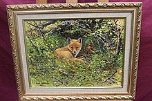 Mark Whittaker (b. 1964), acrylic on board - Fox