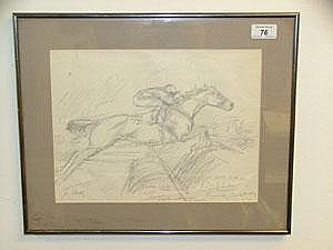 June Brilly pencil sketch in glazed frame - jockey