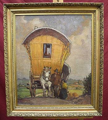 A Leech, oil on canvas - Top O' The Hill, 63cm x