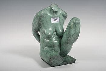 Robin Buick bronze nude sculpture of a seated
