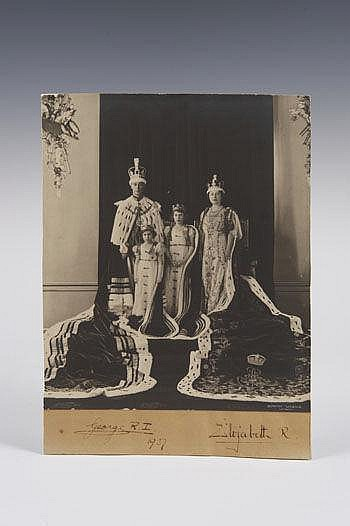 HM King George VI and Queen Elizabeth - signed