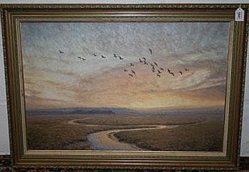 * Julian Novorol 1988 oil on canvas in gilt frame