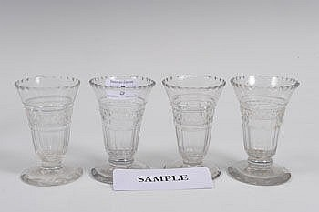 Set of ten George III cut glass syllabub glasses
