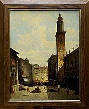 August Von Siegen (1850 - ?), oil on panel - Piazz