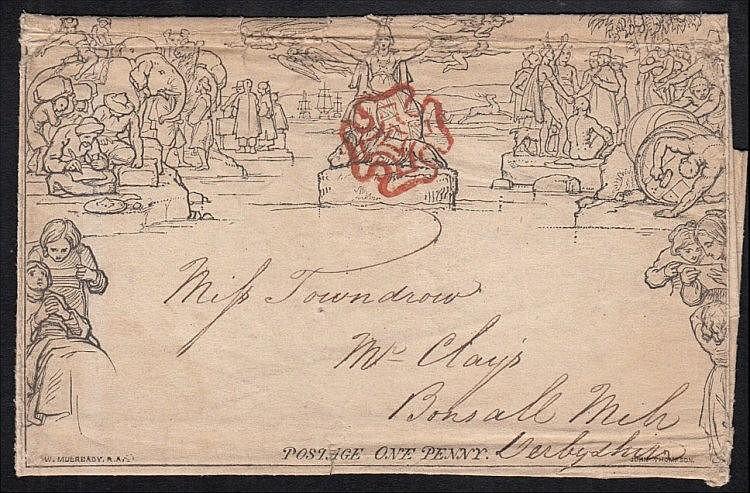 POSTAL HISTORY: 1840 Mulready letter sheet, stereo