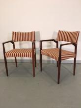 PAIR OF ROSEWOOD ARM CHAIRS