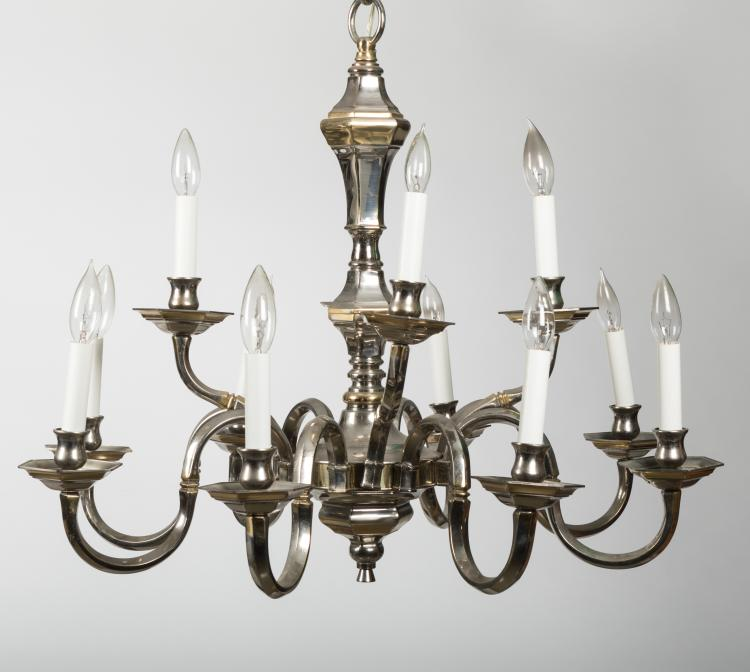 Silverplate williamsburg style chandelier for Williamsburg style lighting