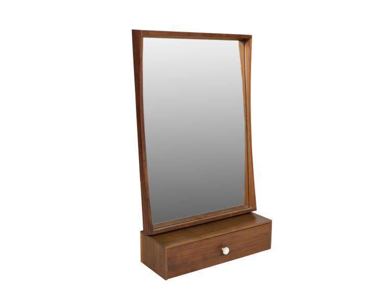 Danish Teak Hanging Mirror and Shelf