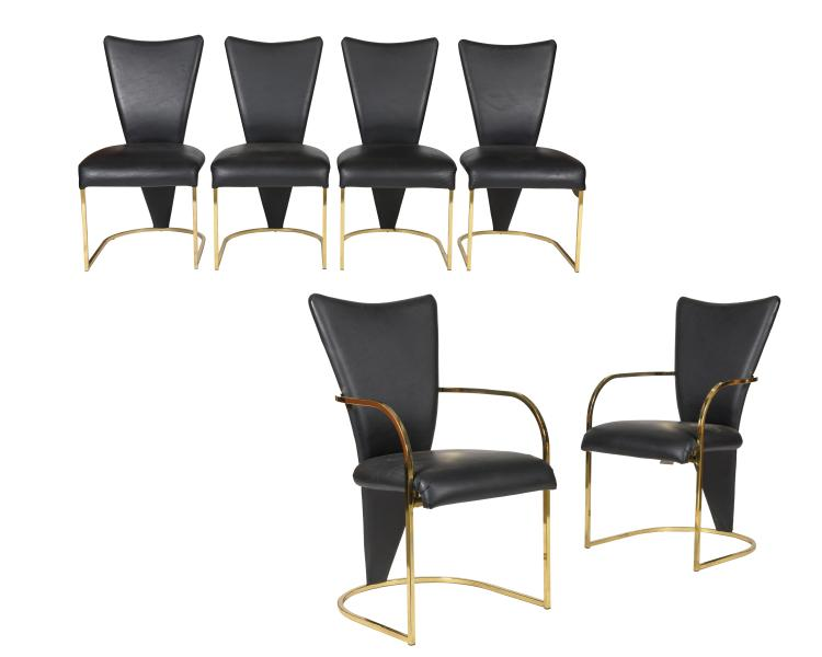 DIA Brass Dining Chairs - Six - Signed