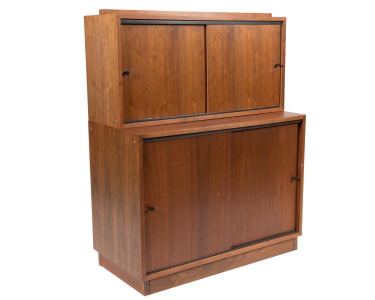 Danish Style Teak Two Part Cabinet