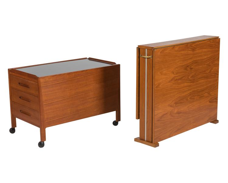 Danish Teak Side Table and Drop Leaf Table