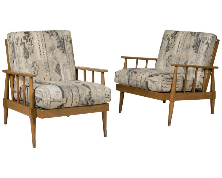 Bleached Mid Century Lounge Chairs
