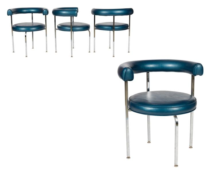 Chrome and Leather Chairs - Four