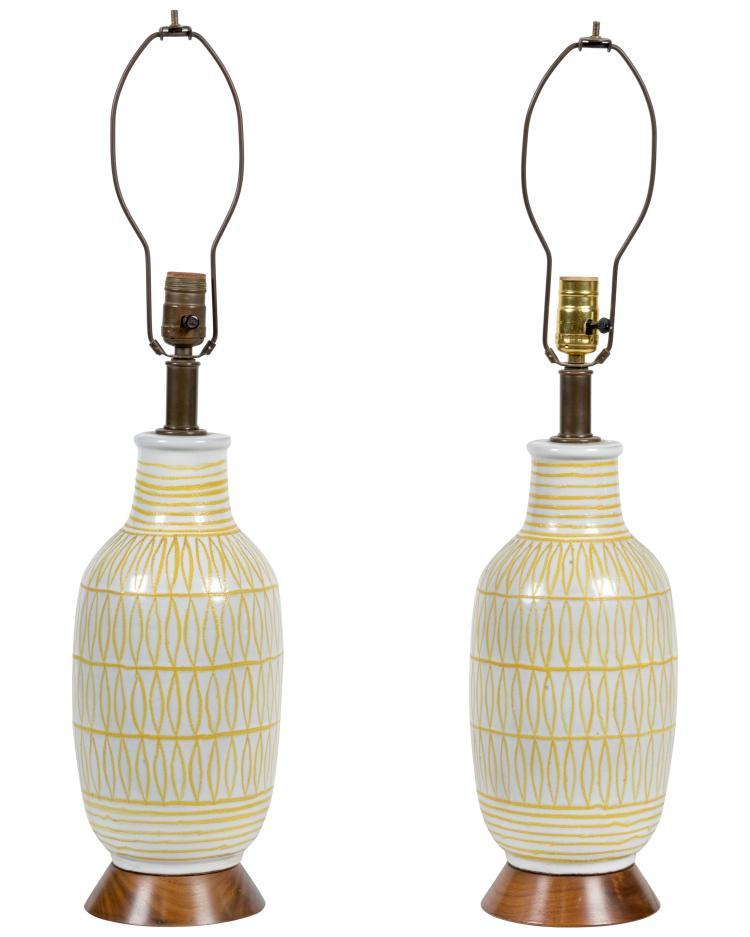 Danish Style Pottery Lamps - Pair
