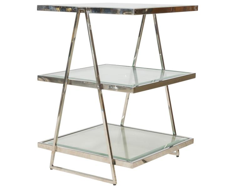 Chrome and Glass Three Tier Serving Table
