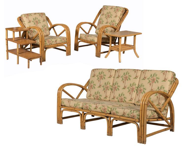 Bamboo Rattan Porch Set - 5 Piece