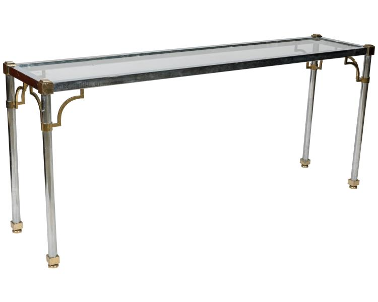 Brass Chrome and Glass Sofa Table