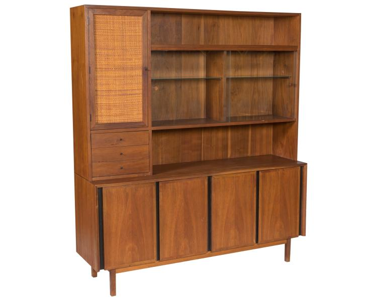 Dillingham Teak and Cane Two Part Sideboard