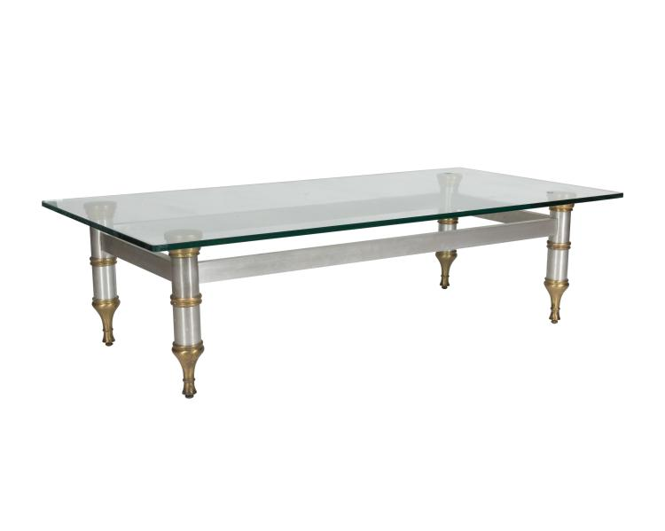 Aluminum Brass and Glass Coffee Table