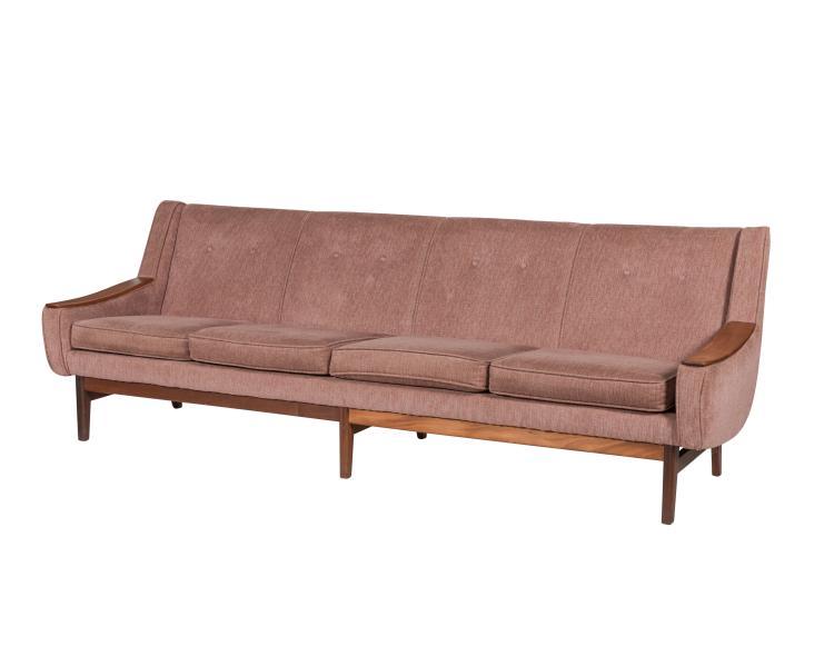 Danish Sofa with Teak Arm Rest