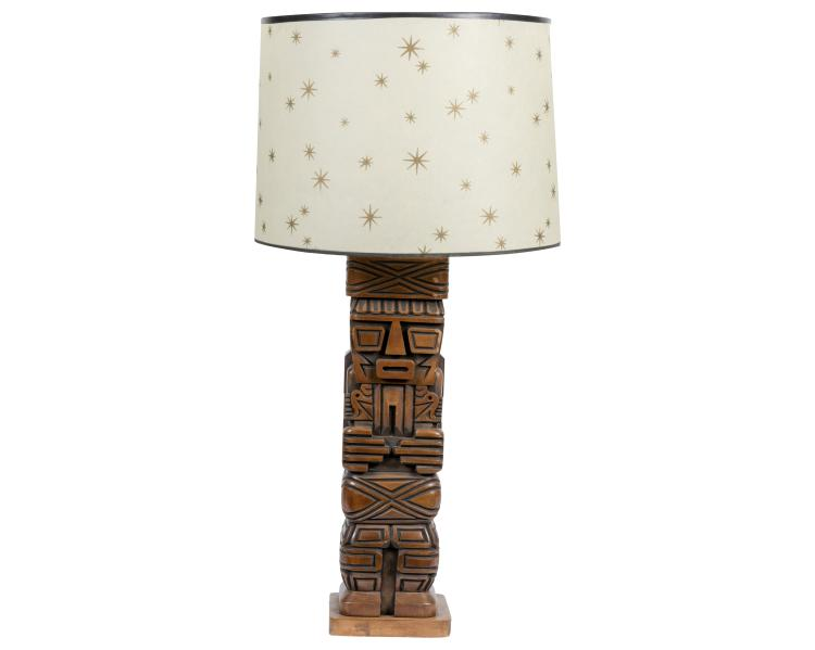 Carved Tiki Lamp