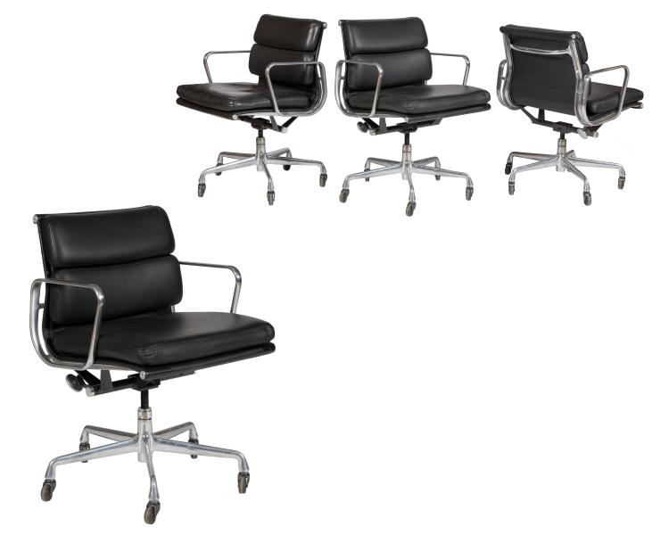 Charles Eames Black Soft Pad Chairs (435) - Four