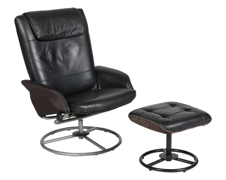 Black Leather Reclining Lounge and Ottoman