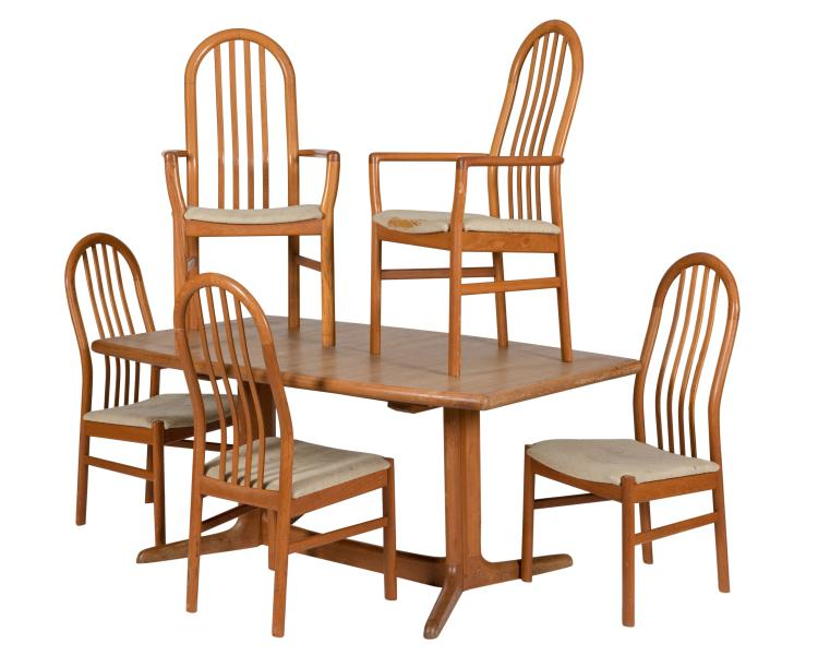 Danish Teak Dining Table and Five Chairs