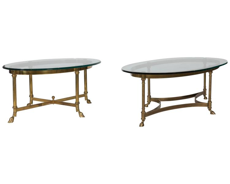 Brass and Glass Coffee Tables - Two