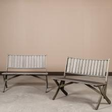 Pair Weathered Teak Garden Benches