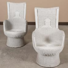 Pair High Back Wicker Chairs