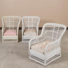 Set of Three Bar Harbor Wicker Porch Chairs